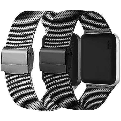 Meliya Cinturino Compatibile per Apple Watch Cinturino 44mm 42mm 40mm 38mm Series 6 5 4 3 2 1 SE, Cinturino in Metallo Maglia Milanese a Acciaio Inossidabile Cinturini (42/44mm, 2Grigio+Nero)