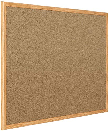 Mead Corkboard, Framed Bulletin Board, 3 x 2, Cork Board, Oak Finish Frame (85366)