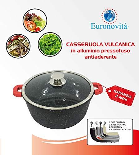 Euronovità EN-20765 pan, steen-look, 28 cm, anti-aanbaklaag, met glazen deksel