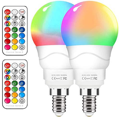 Bombilla LED Colores 6W, 2 Pack E14 Bombillas Colores RGBW con Control Remoto, Función de Temporización y Memoria, 12 RGB Colores, de memoria para casa, fiesta[Clase de eficiencia energética A++]
