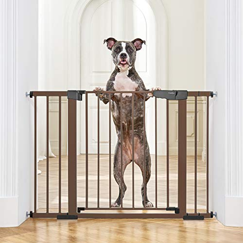"""Cumbor 46""""Baby Gate for Stairs and Doorways, Extra Tall and Wide Auto Close Safety Child Gate, Easy Walk Thru Durable Dog Gate for The House. Includes (2)2.75-Inch and 8.25-Inch Extension(Brown)"""