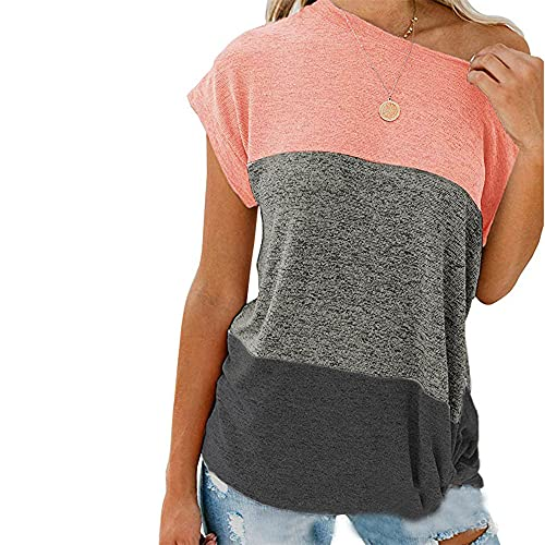 Women Shirt Long Sleeve Comfortable Splicing Round Neck Personality Hem Women Blouse Casual Temperament Breathable Collocation Elasticity Spring Summer Women Tops H-Pink L