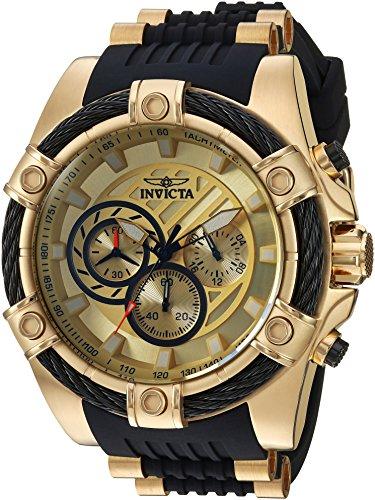 Invicta 25526 - Reloj de cuarzo con correa de silicona, para hombre, acero inoxidable, color negro, 26 (modelo: 25526)