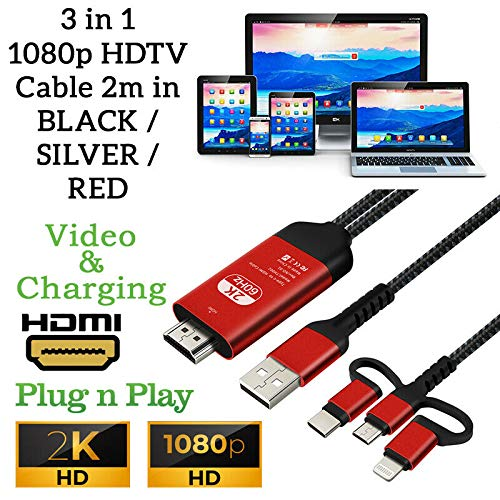Adaptador de cable 3 en 1 iPhone/Aligeramiento/Tipo C/Micro USB a HDMI HDTV TV Full HD 1080P HD (Red)