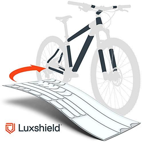 Luxshield Película Protectora de Pintura para Bicicleta Electrica, BMX, Carretera, Trekking, etc. - Conjunto para Cuadro de 20 Piezas contra Golpes de Piedras
