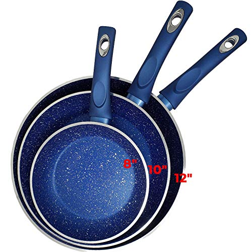 """Non Stick Blue Marble Stone Forged Aluminum Pan Set Granite 4.5mm 6 Layers Non Stick Thickness Induction Bottom & Cool Touch Handle Dishwasher Safe PFOA,PTFE (3pc Set of 12"""",10"""",8"""" Pans)"""