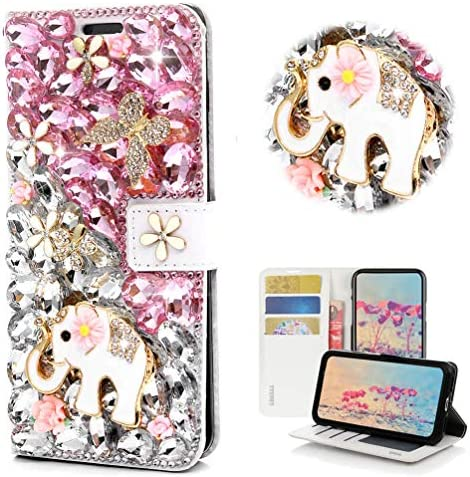 STENES Bling Wallet Case Compatible with Samsung Galaxy S5 STYLISH 3D Handmade Crystal Elephant product image