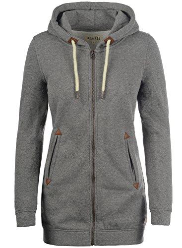 DESIRES Vicky Straight-Zip Damen Lange Sweatjacke Kapuzenjacke Sweatshirtjacke Mit Kapuze Und Fleece-Innenseite, Größe:S, Farbe:Grey Melange (8236)