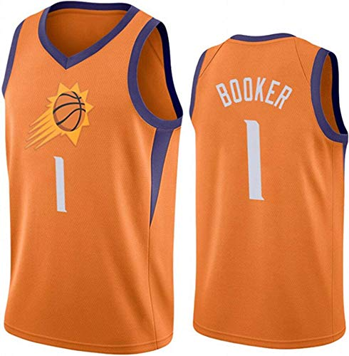 WHYYT Jerseys de Baloncesto de los Hombres, NBA Phoenix Suns # 1 Devin Booker Jersey, Ropa clásica de camisón sin Mangas Transpirable Bordado,L(175~180CM/75~85KG)