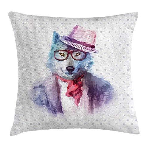 Grappig kussen kussensloop, Hipster wolf hond in zonnebril truien retro mode aquarel stijl Illustratie, decoratieve vierkante Accent kussensloop, 18 X 18 inch, Lila blauw
