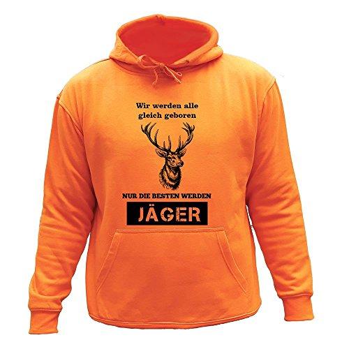 AtooDog Jäger Motiv Sweater - Wir Werden alle gleich geboren, Nur die besten Werden jäger, Sweatshirt Jagd, Hirsch. (L, Orange,20149)