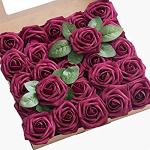 Ling's moment Artificial Flowers 50pcs Real Looking Foam Roses w/Stem for DIY Wedding Bouquets Centerpieces Bridal Shower Party Home DecorationsRegular 3″