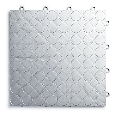RaceDeck CircleTrac, Durable Interlocking Modular Garage Flooring Tile (Single Tile), White