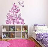 Decalcomania da parete per camera da letto, casetta principessa piccola capanna con cartoni animati per bambini e ragazzi