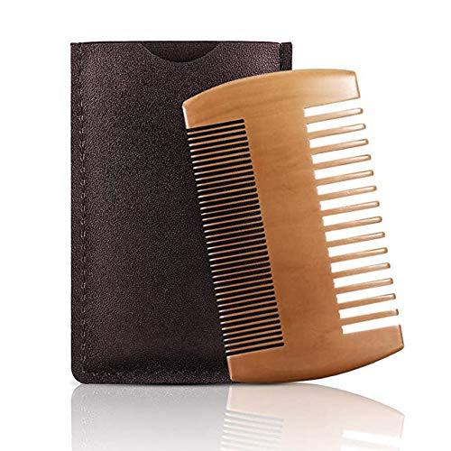 Rpanle Peigne à barbe Barbe peigne en bois, bois de peigne à moustache avec étui en cuir Pour l'Entretien et le Soin de Barbe