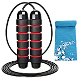R RUNVEL Mens Skipping Rope Adult Fitness Skipping Rope for Fitness Women Speed Fitness Skipping Rope for Boxing Speed Training and Fitness Gym Adjustable Long Jump Rope for Adults Kids 2.8m Red
