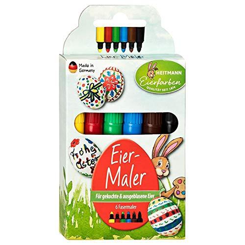 Eierfarben HEITMANN Eierfarben 6 Eier-Maler - Stifte - für Kinder - für Eier, Papier und Karton - Ostern - Ostereier bemalen, Ostereierfarbe, 1007788