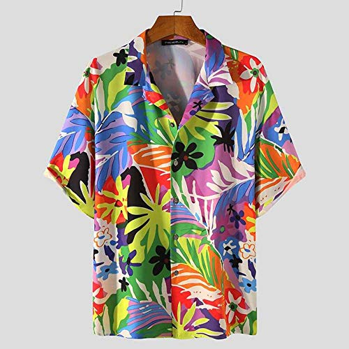 Camisas Hawaianas Hombre,Blusa Casual con Botones Y Solapa Clásica Patrón De Hojas Tropicales Colorido Estilo Hawaiano Transpirable Suelto Vintage Aloha Manga Corta para Hombre Mujer Vacaciones En