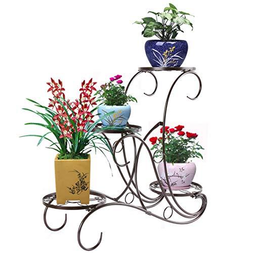 homelikesport Metall Blumenständer Blumentreppe Pflanzenständer Blumenregal Blumenbank mit 4 Töpfe für Innen Outdoor Garten Balkon, 62 * 60 * 28cm