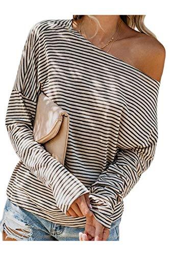 Jumojufol Donne Strisce Sweatshirt Uno. Spalla Lunga Sleeeve Casuale Pullover Albicocca XL