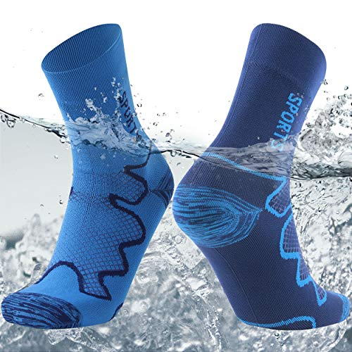 SuMade Waterproof Skiing Socks, Womens Mens Winter Warm Lightweight Sports Athletic Breathable Dry Fit Hiking Golf Camping Running Boot Socks Christmas Gift for Mother 1 Pair (Blue, Medium)