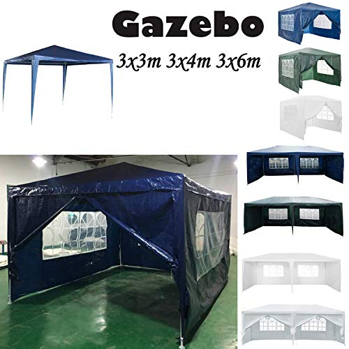 AutoBaBa 3M x 4M Gazebo Tent Marquee Canopy Powder Coated Steel Frame for Outdoor Wedding Garden Party Camping, with Side Panels, Waterproof, Blue
