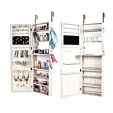Bonnlo Wall Mounted/Door Hanging Jewelry Armoire Cabinet, Full Length Mirror Lockable Storage Bedroom Organizer,, 52  L X 18  W