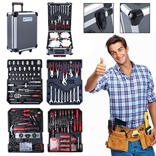 Werkzeugkoffer Gefüllt, Heimwerker Werkzeugset, Multifunktionale Haushaltshand Werkzeugcase, Alu Werkzeugkoffer Trolley mit Werkzeug gefüllt, 4 Ebenen (977 tlg - grau)