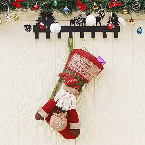 Medias de Navidad, Lypumso Calcetines de Papá Noel, Calcetines Colgantes, Decoración del árbol de Navidad, Calcetines de Regalo de Caramelo, Decoración Ambiental, Bordados no Tejidos a Mano