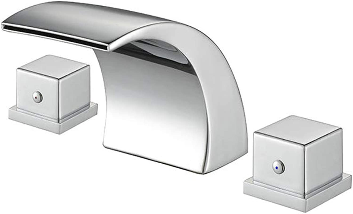 Jueven Temperature Controlled Discoloration Waterfall LED colors Changing Widespread Widespread Widespread Bathroom Sink Faucet 2 Handles,Chrome a21383
