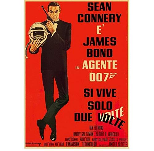 ZOEOPR Poster James Bond 007 Poster British Legend Poster Vintage Poster retrò Art Immagini a Parete per Soggiorno Home Decor 50 * 70 cm Senza Cornice