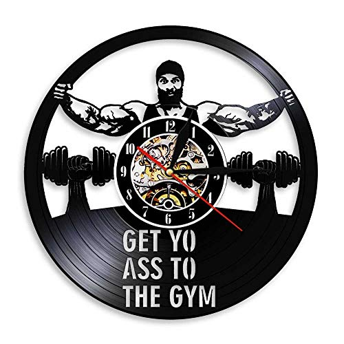 Relojes de Pared LED de 7 Colores Get Yo Ass To The Gym Fitness Disco de Vinilo Entrenamiento Dumbbell Bodybuilder Relojes 3D con luz