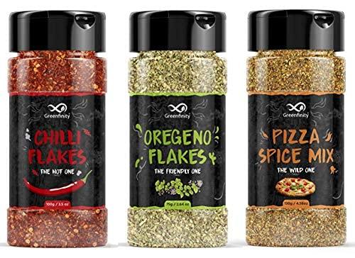 Pizza Combo of Chilli Flakes - 35g, Oregano - 30g, Pizza Spice Mix Seasoning - 50g, Italian Seasonings, Special & Tasty.