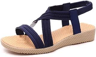 Inlefen Women's Simple Elastic Flat Sandals Retro Open toe shoes