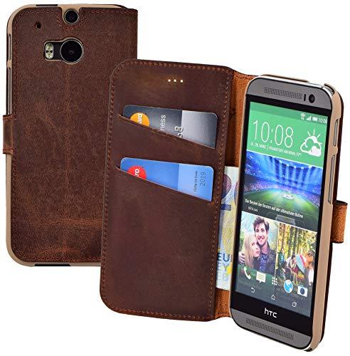 Suncase Book-Style Tasche kompatibel mit HTC One M8 | HTC One M8s Ledertasche Leder Schutzhülle Hülle Hülle (mit Standfunktion & 2 x Kartenfach) antik Coffee