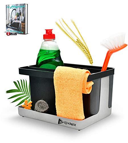 Luamex® Organizador de fregadero de paja de trigo – Escurreplatos – Soporte para esponja – Organizador de utensilios de cocina – Incluye libro electrónico