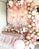 Rose Gold Balloons Decorations for Birthday Party,126 Pieces Balloon Garland Arch Kit, Rose Gold Pink and Gold Confetti Balloons for Baby Shower Wedding Birthday Graduation Anniversary Bachelorette Globos Para Fiestas, Rose Gold Birthday Party Decorations