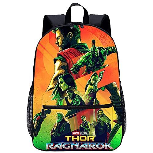 ABUKJM Thor 3: Ragnarok Thor Odinson Teenagers Schultasche 3D-Druckrucksack Casual Daypack Laptop Rucksack Classic Schoolbag Rucksack Leinwand-Rucksack