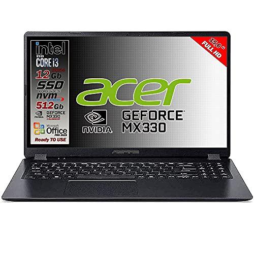 Notebook SSD slim Acer Intel i3 10 th, RAM 12 GB, SSD 512GB m2, display 15.6 Full hd led, Svga Intel HD 600, 3 USB, Wi-Fi, hdmi, BT, Win 10 Pro, Office Pro 2019, Pronto all Uso, Garanzia Italia