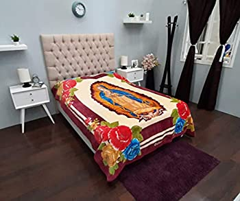 Colap Mexican Blanket Raschel San Marcos Polyester - Cobijas Camping Bed Sofa and Couch Bed Throw Cover  Guadalupana Tinta 74  x 88