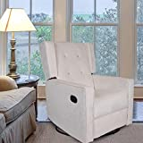 Polar Aurora Swivel Glider Rocker Recliner - Single Suede Tufted Gliding Chairs for Living Room Home Theater (Beige)