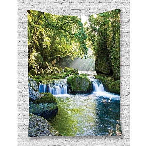 HYDDAXJW Décor De Cascade De Forêt Tropicale Jungle Tapisserie, Montagnes, Feuillage Et Rochers Moussus Voir Impression, Tapisserie Murale, (W) 150X (H) 200Cm