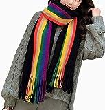 Lanbowo Cálido Arcoiris Mujer Niña Bufandas Chal Envolturas Borla Tejido Largo Bufanda Regalo Multifunción Bufanda - Negro