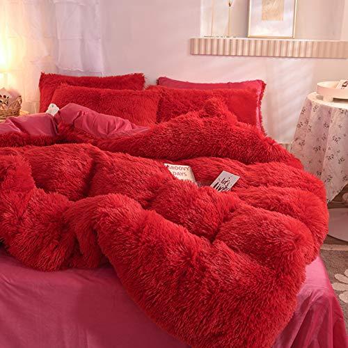 LGYKUMEG Teddy-Bettdecke, weiche und warme Wollbettwäsche, Flauschiger und Warmer Bettbezug im Winter, langes Wollvlieshaar, Kunstpelz-Plüschbettwäsche mit Reißverschluss,03,200 * 230cm