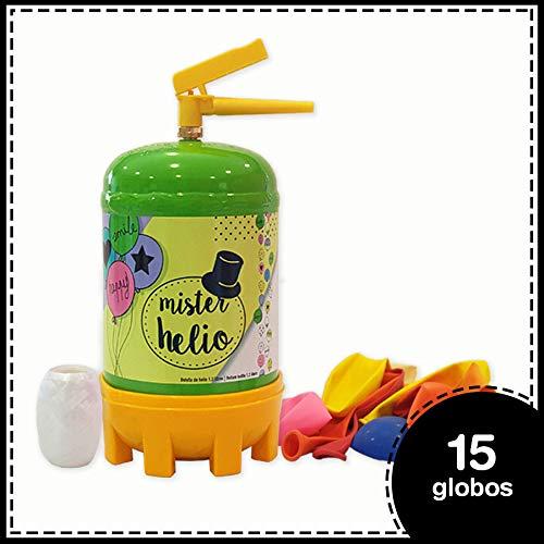 Bombona de Helio Desechable Mister Helio + 15 Globos de Latex. La Botella de Helio más molona