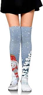 Uridy, Calcetines hasta la rodilla Tubo lindo muñeco de nieve con sombrero y bufanda Impresiones sobre muslo Medias largas y altas