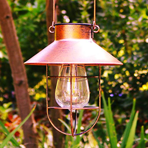 Lanterne solari da appendere all'esterno, luci solari impermeabili da giardino con lampadina Edison per passerella, patio, cortile, decorazione (rame)