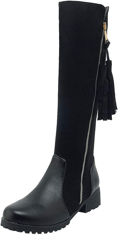 FANIMILA Women Med Heels Riding Boots Retro Tassel Boots