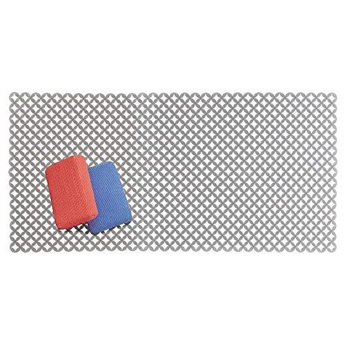 mDesign Tappetino antigraffio per la protezione del lavandino – Tappetino scolapiatti extra large in PVC – Tappeto protettivo per lavello dal design a griglia – grigio ardesia