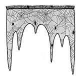 LUOEM Halloween Spiderweb Curtains Lace Window Curtain Door Panel Halloween Home Party Decoration Kitchen Sheer Pelmet Living Room(Black)